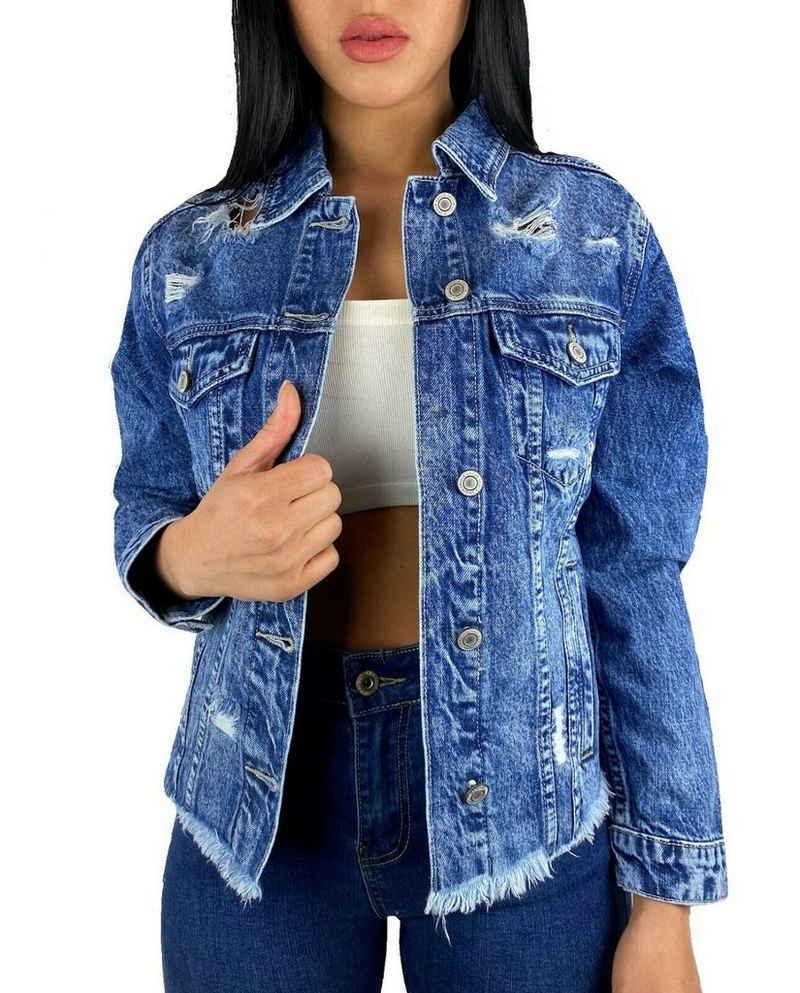 Worldclassca Jeansjacke »Worldclassca Damen Crop Jeansjacke Jeans KURZ Destroyed MIT Rissen Jacket Vintage Button Used WASH FRANSEN Cut-Out ÜBERGANGSJACKE Fashion Blogger DENIMWEAR BLAU Denim XS-L«