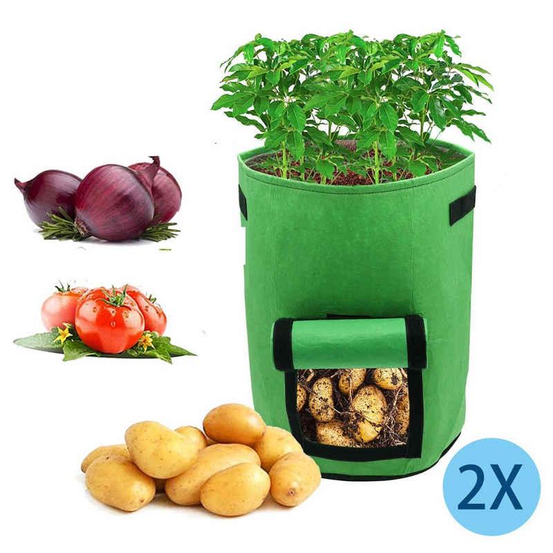 Einfeben Pflanzkübel »2x Pflanzsack 15/27/38L mit Fenster Pflanzen Tasche Grün Kartoffel Pflanzbeutel Garten«