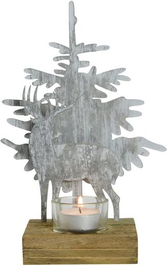 Teelichthalter »Hirsch an Baum« (1 Stück), Höhe ca. 24 cm