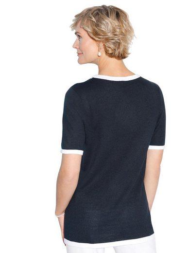 Classic Basics Pullover mit kontrastfarbigen Zierperlen