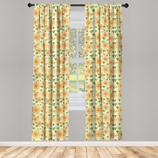 Gardine »Fensterbehandlungen 2 Panel Set für Wohnzimmer Schlafzimmer Dekor«, Abakuhaus, Sonnenblume Patchwork-Art-Kunst