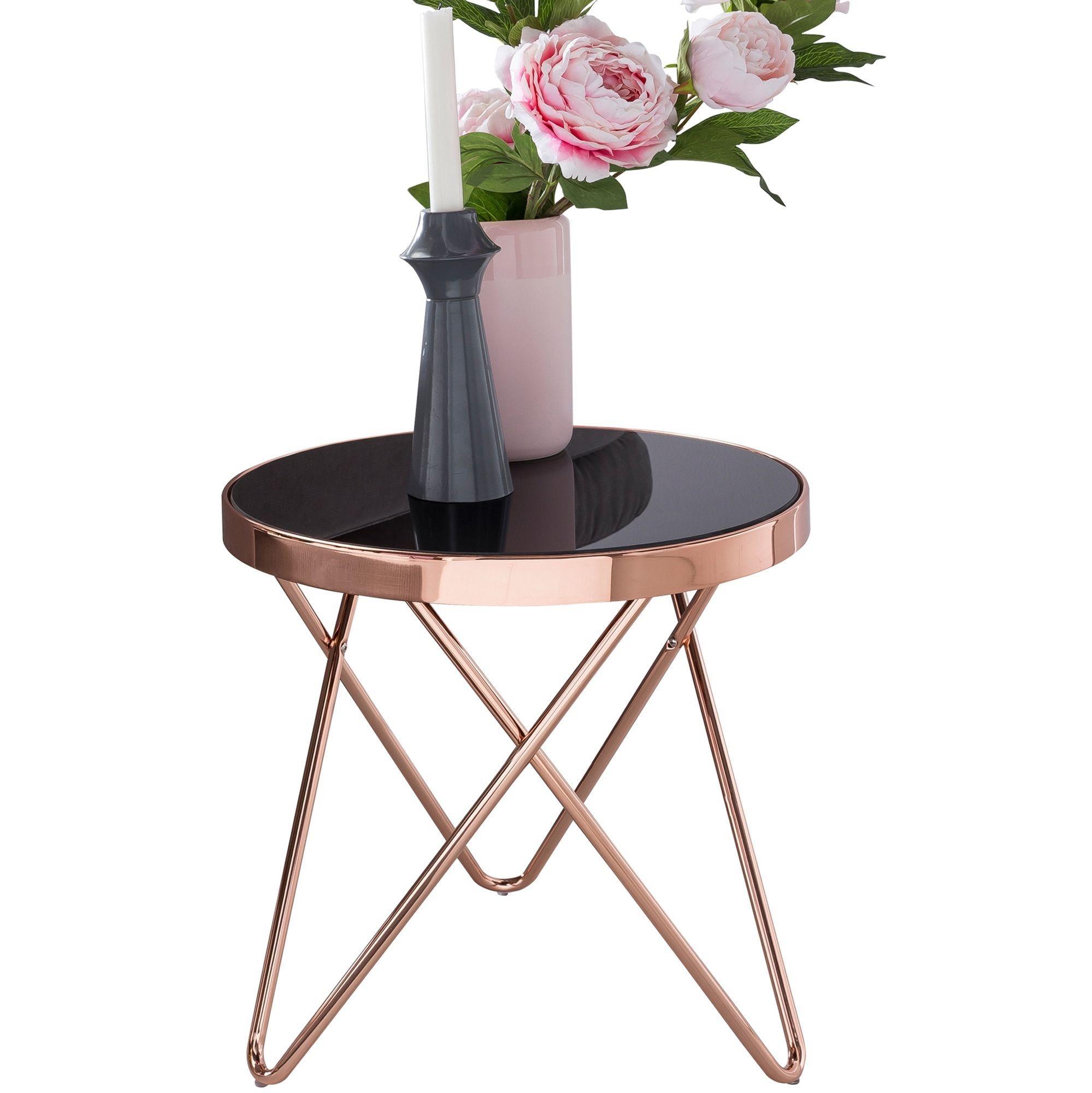 Beistelltisch »WL5.247«, Design DANA Dreibein Metall Glas ø 42 cm Schwarz / Kupfer Wohnzimmertisch verspiegelt Couchtisch modern Glastisch