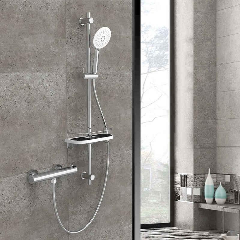 Rainsworth Duschsystem, Höhe 90 cm, 3 Strahlart(en), Komplett-Set, Thermostat, Handbrause, Duschschlauch, Duschstange, Höhe 90cm, 3 Strahlarten, Duschstange mit Duschablage, aus Messing und ABS, Chrom