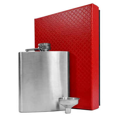 eyepower Flachmann »Flachmann Set Geschenkbox Edelstahl 210ml«, Taschenflasche Präsent Silber