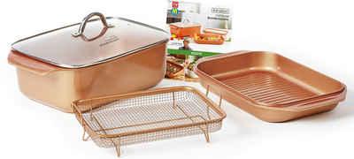 LIVINGTON Bräter »Cooperline Wonder Cooker«, Aluminium, (Set, 5-tlg), inkl. Grillpfanne, Glasdeckel, Cooper Crisper, Rezeptheft, Induktion