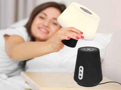 meineWunschleuchte LED Tischleuchte, mit Lautsprecher Akku Nachttisch-lampe ohne Kabel Nacht-licht per TOUCH dimmbar, ideale Nachttischleuchte Bett-Lampe Schlafzimmer