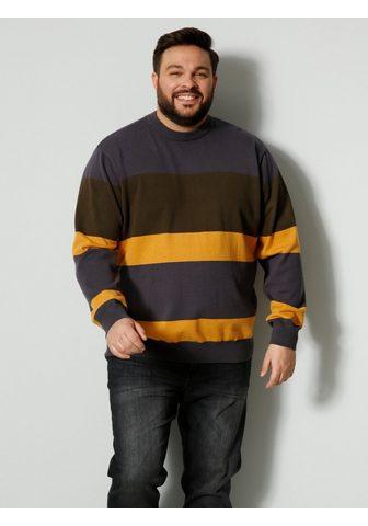 Men Plus Megztinis apvalia iškirpte su Streifen...