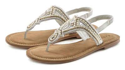 LASCANA Zehentrenner Sandale mit Perlen und Steinchen besetzt