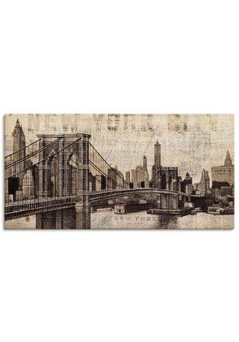 Artland Paveikslas »Vintage NY Brooklyn Bridge...