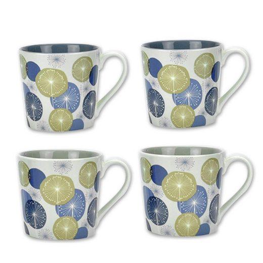 Jameson + Tailor Tasse »Becher Pusteblumen blau/olivgelb, 4er Set«, Porzellan
