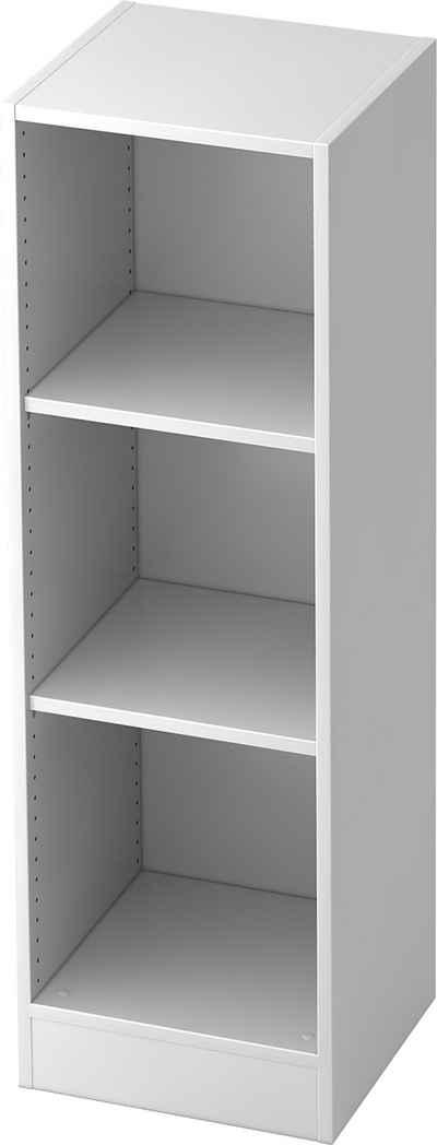 bümö Aktenregal »OM-6050«, Büroregal, Bücherregal, Regal für Ordner, Akten & Bücher mit 3 Ordnerhöhen - Dekor: Weiß