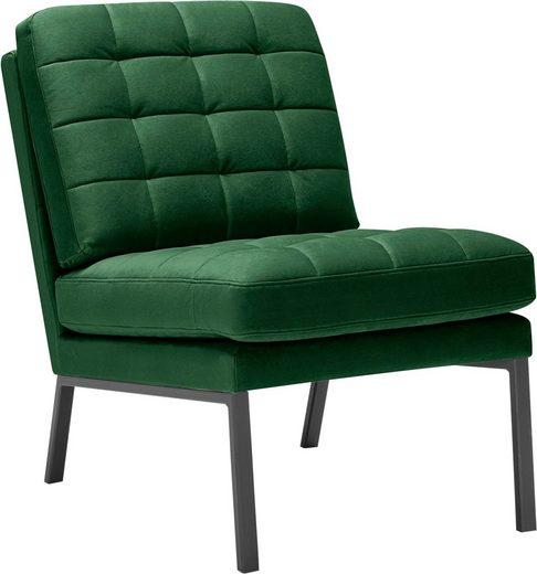 LOVI Sessel »Chilli«, Fußgestell grau, weiche Kissen mit auffallender Steppung im minimalistischen Design