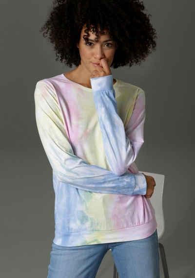 Aniston CASUAL Sweatshirt mit Batik-Muster