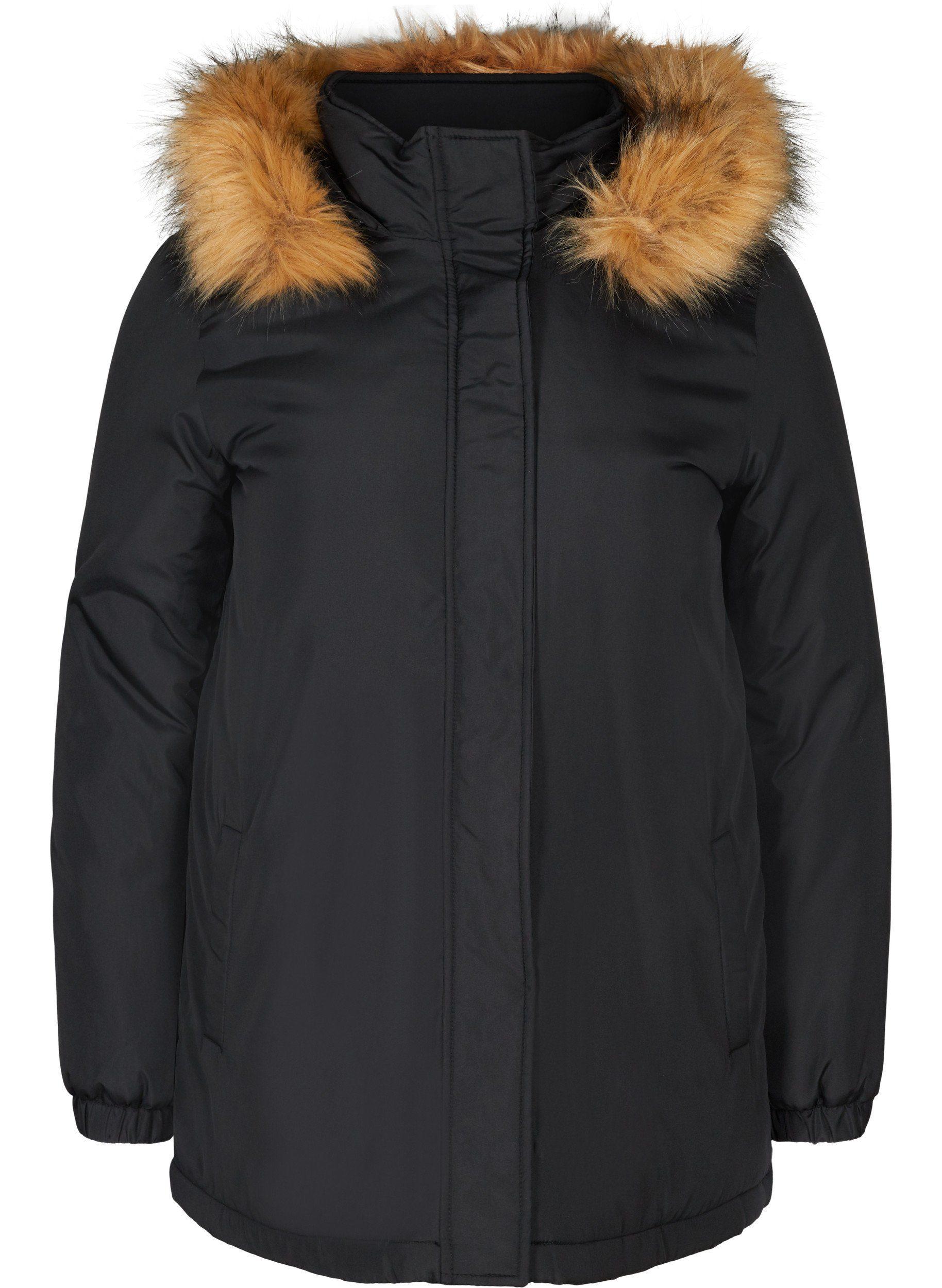 Zizzi Winterjacke Große Größen Damen Jacke mit Reißverschluss und Kunstpelz Kapuze online kaufen | OTTO