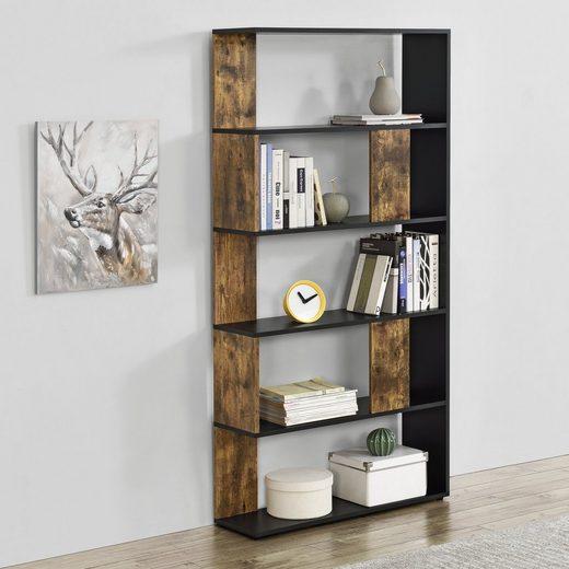 en.casa Bücherregal, »Aneby« Standregal Mehrzweckregal mit 5 Ablageflächen 159x80x24cm Schwarz / Holzfarben