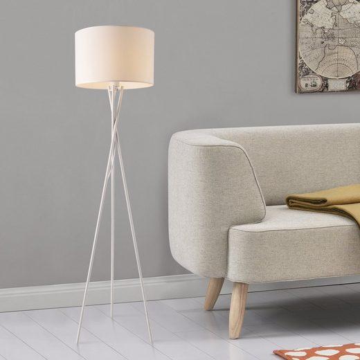 lux.pro Stehlampe, lux.pro Stehlampe, »Grenoble« Stehleuchte 154cm Design Dreifuß Lampe weiß