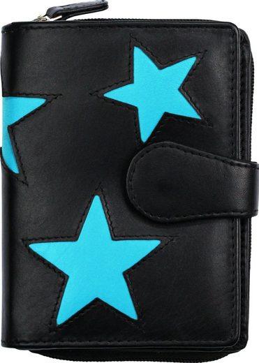 DrachenLeder Geldbörse »OPS104X DrachenLeder Geldbörse Brieftasche« (Portemonnaie), Damen, Jugend Portemonnaie Echtleder, schwarz, türkis ca. 9cm x ca. 12cm