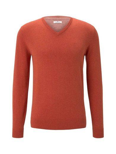 TOM TAILOR V-Ausschnitt-Pullover, Strickpullover »Basic Pullover V-Ausschnitt« mit Logostickerei