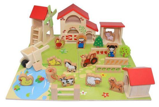 Coemo Spielcenter, (25-tlg), Farm aus Holz Bauernhof Stall Tiere Puzzle