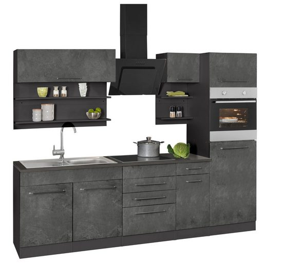HELD MÖBEL Küchenzeile »Tulsa«, mit E-Geräten, Breite 330 cm, schwarze Metallgriffe, hochwertige MDF Fronten