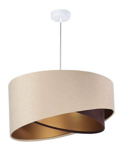 Kiom Pendelleuchte »Kinga P Velours beige  brown & gold Ø 50 cm«   Lampen > Deckenleuchten > Pendelleuchten   Kiom
