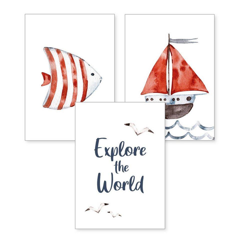 kreative feder poster aquarell zeichnung fisch boot