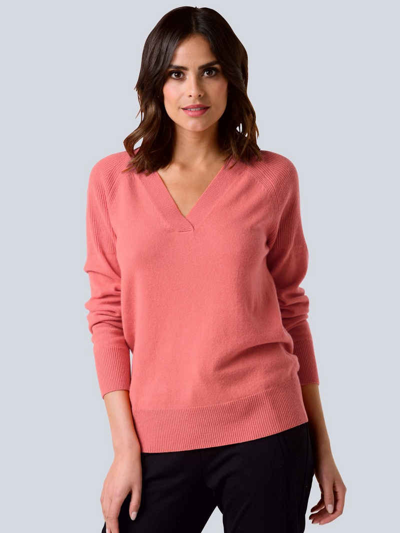 Alba Moda V-Ausschnitt-Pullover aus hochwertiger reiner Kaschmirqualität