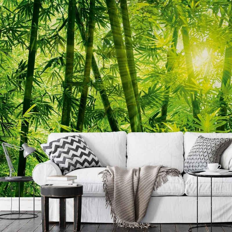 Wizard + Genius Fototapete »Große Fototapete Sonne Bambuswald Papiertapete Bambus Blätter«