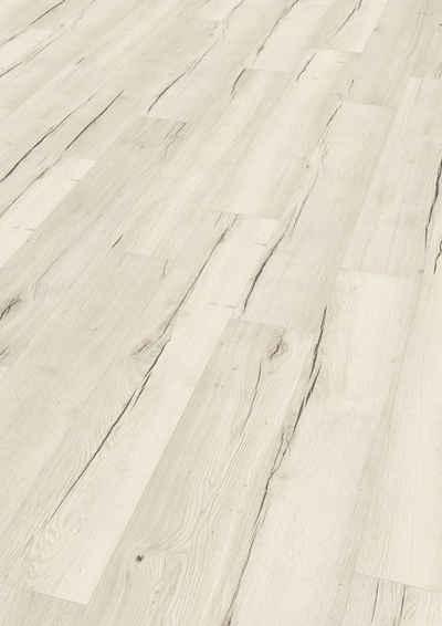 EGGER Laminat »Creston Eiche weiss«, 8mm, 1,995m², authentische Holzoptik, Wasserresistent & feuchtraumgeeignet