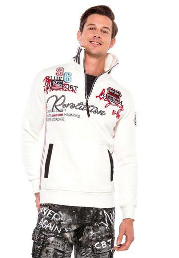Cipo & Baxx Sweatshirt mit hohem Stehkragen