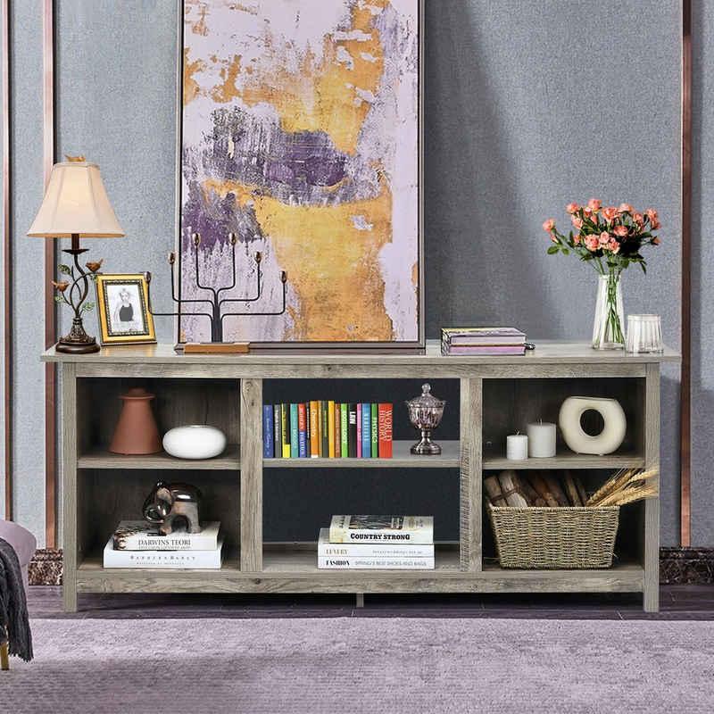 COSTWAY TV-Schrank »Fernsehschrank« 2-stufig, für Fernseher bis 165 cm, mit Regale