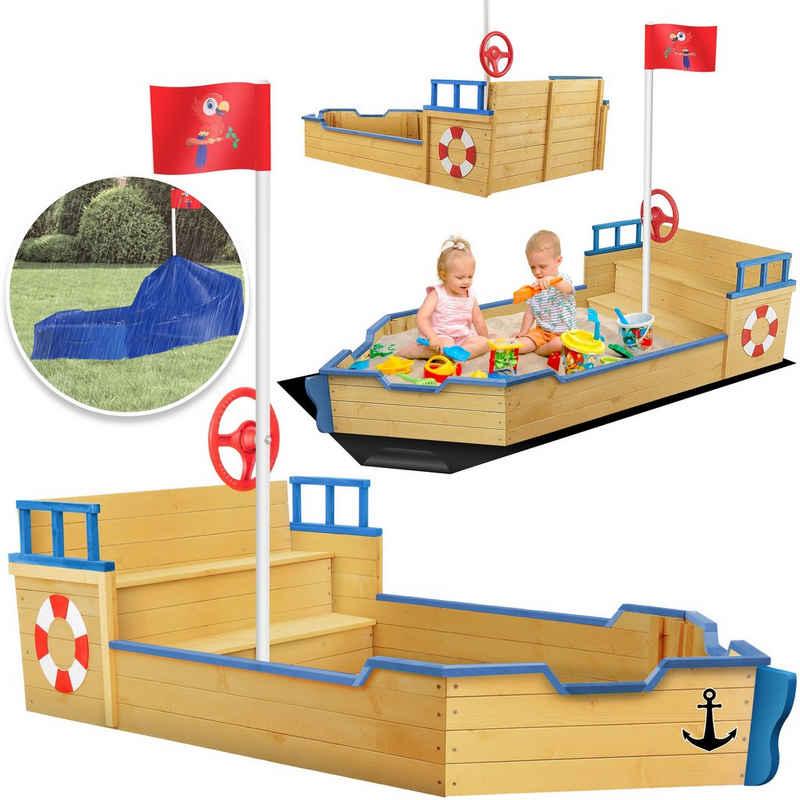 KIDIZ Sandkasten, Ahoi - Piratenschiff Boot Segelschiff aus Holz Inkl. Abdeckung, Bodenplane, Sitzbank, Flaggenmast Große Kinder Sandkiste für den Garten Outdoor Sandbox