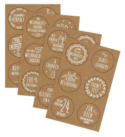 URSUS Sticker »Weihnachtspost«, 24 Stück