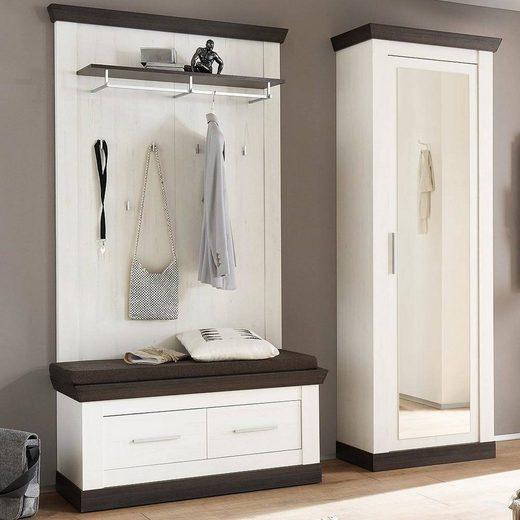 Lomadox Garderoben-Set »SALARA-61«, (Spar-Set), Garderobenmöbel Set im Landhaus Stil Pinie weiß Nb. mit Wenge inkl. Dielenschrank B/H/T ca. 190x201x38-45cm