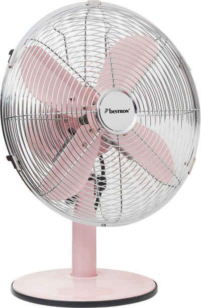 bestron Tischventilator Summer Breeze, mit Schwenkfunktion im Retro-Design, Höhe: 43 cm, Ø 35 cm, 35 Watt, Rosa