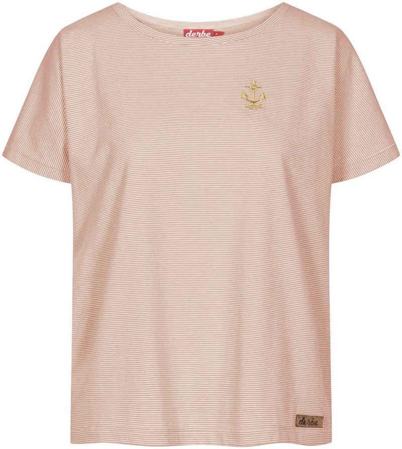 Derbe T-Shirt »Golden Anchor« mit feinem Ringel und Anker-Logo