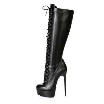 Giaro »Giaro Mahaute Schwarz Black Matte Stiefel Plateaustiefel Schnürstiefel« High-Heel-Stiefel Vegan