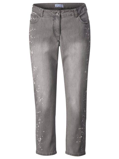 Hosen - Angel of Style by HAPPYsize Jeans mit Druck in Farbspritzeroptik › grau  - Onlineshop OTTO
