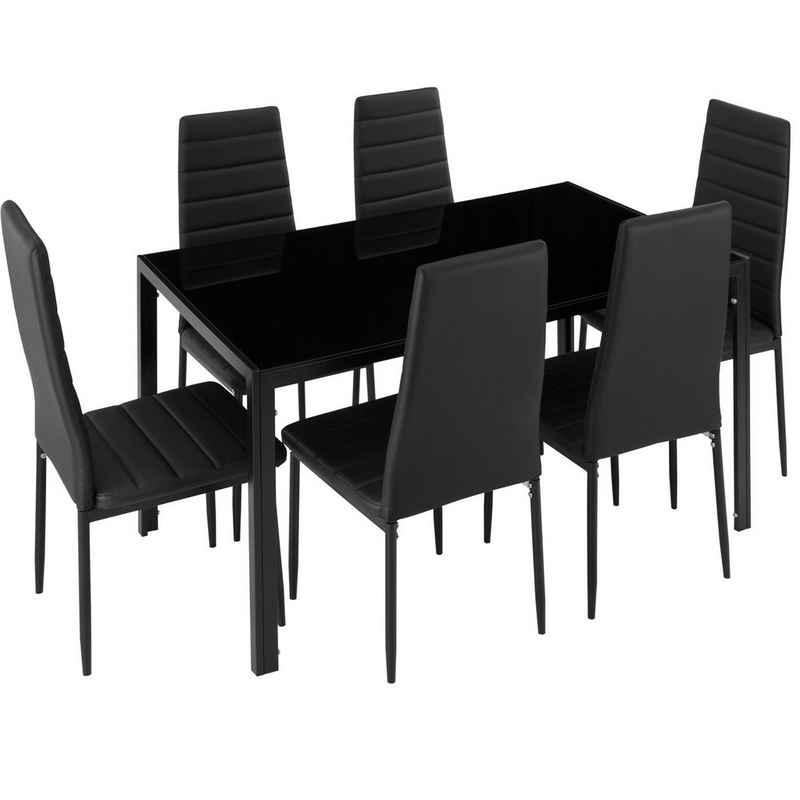 tectake Sitzgruppe »Essgruppe Brandenburg 6+1«, (7-tlg., Set aus Stühlen und Esstisch)