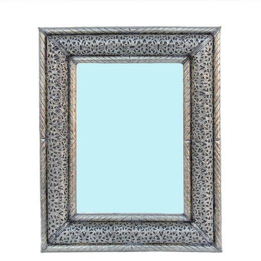 Casa Moro Wandspiegel »Orientalischer Spiegel Wedad Silber Gross 50 x 40 cm (HxB) rechteckig aus Metall, Kunsthandwerk aus Marrakesch, Marokkanischer Wandsppiegel für Dekoration & Geschenk-Idee, SP9084« (1-St), Handmade
