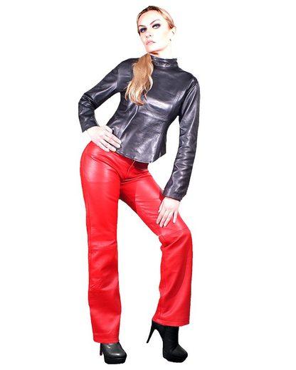 Fetish-Design Lederhose »Lederhose 5-Pocket Rot Damenlederhose Echtes Leder Lamm Nappa Leder«