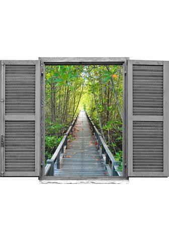 queence Wandtattoo »Brücke im Wald« (1 vieneta...