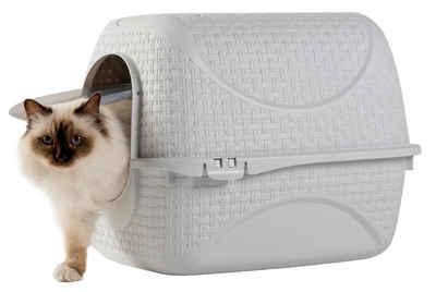 PETGARD Katzentoilette »Katzentoilette Katzenklo Haubentoilette«, weiss mit Rattan Optik, Filter und Streuschaufel