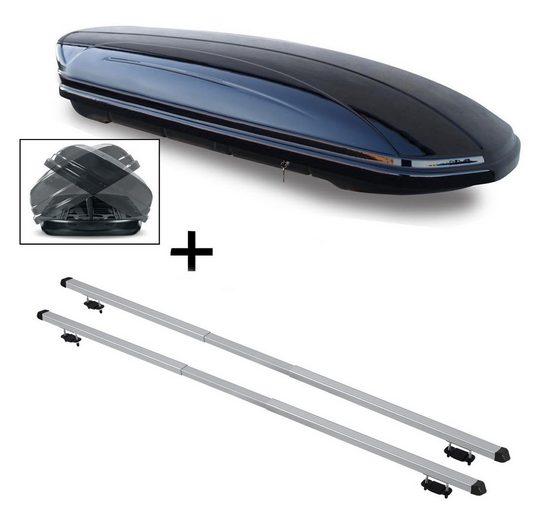 VDP Fahrradträger, Dachbox VDPMAA460 460Ltr Duo beidseitig aufklappbar abschließbar + Dachträger RAPID kompatibel mit Peugeot 206 Kombi (5Türer) ab 02