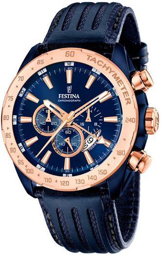 Festina Chronograph »UF16897/1 Festina Herren Uhr F16897/1 Chronograph«, (Chronograph), Herren Armbanduhr rund, Lederarmband dunkelblau