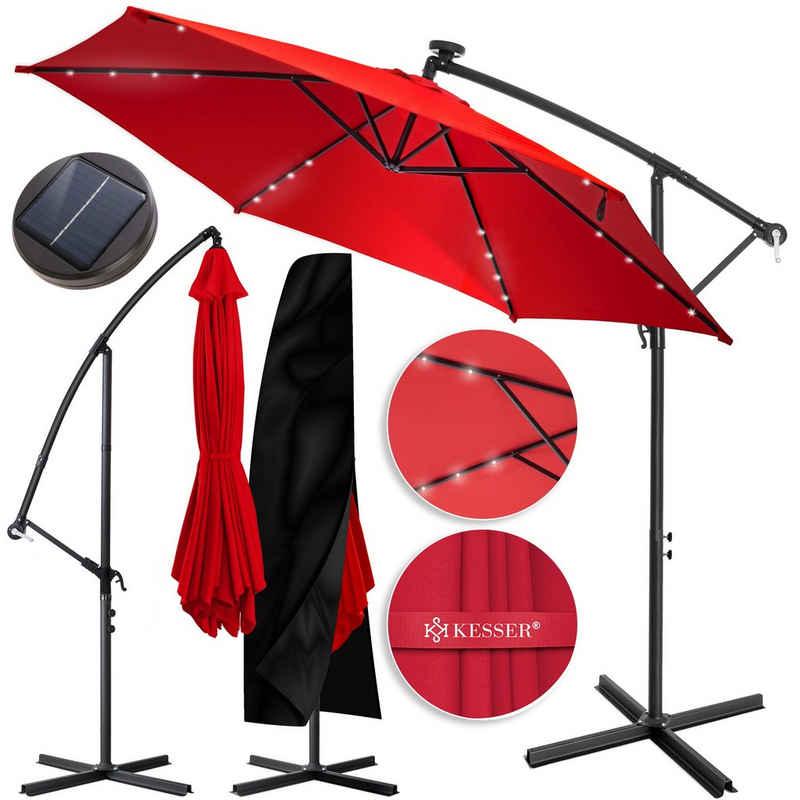 KESSER Ampelschirm, 3m+3,5m LED Sonnenschirm Ampelform, Ø300cm-350cm, mit Abdeckung & Kurbelvorrichtung, UV-Schutz, Aluminium, mit An- und Ausschalter, Wasserabweisend, Schirm, Garten Ampelschirm
