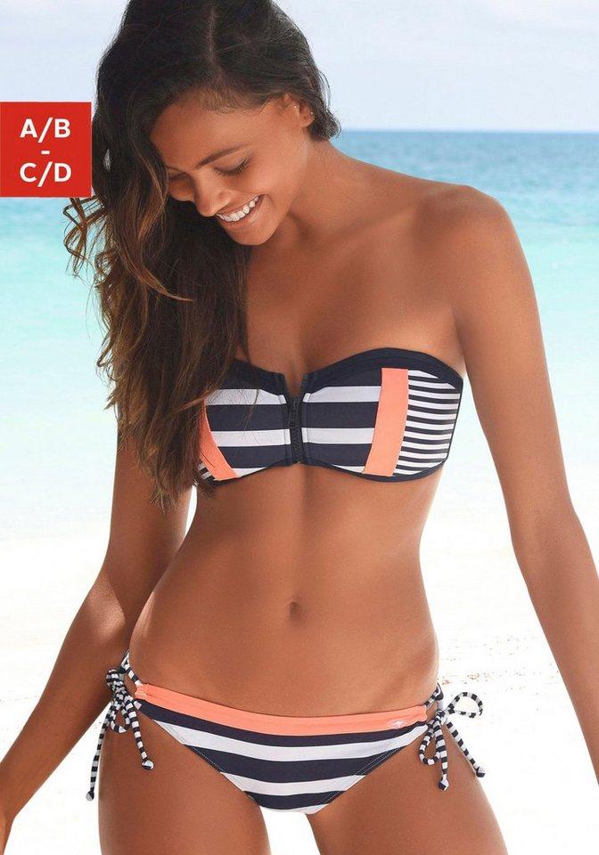 Bademode - KangaROOS Bandeau Bikini Top »Anita«, mit Reißverschluss zwischen den Cups › blau  - Onlineshop OTTO