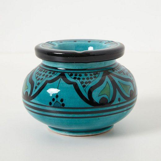 Casa Moro Aschenbecher »Marokkanischer Keramik Aschenbecher mit Deckel Ø 12cm, Windaschenbecher handbemalt & handgetöpfert, Kunsthandwerk aus Marrakesch«
