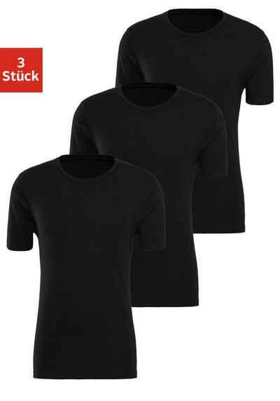 Bench. T-Shirt (3er-Pack) super geeignet zum Drunterziehen, perfekte Passform, aus elastischer Baumwolle