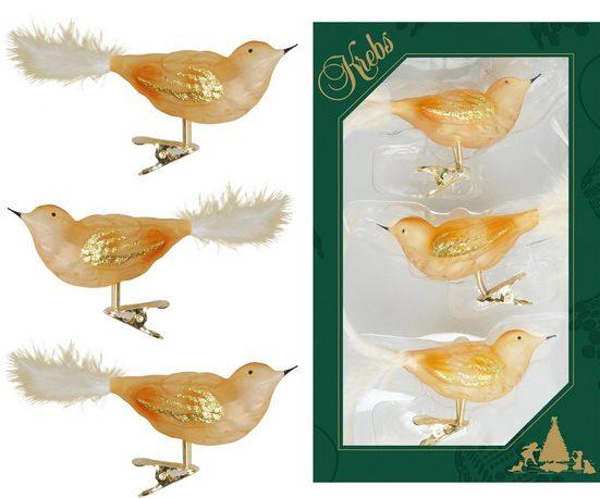 Krebs Glas Lauscha Weihnachtsbaumklammer »CBK80877« (3-tlg), Vogelsortiment